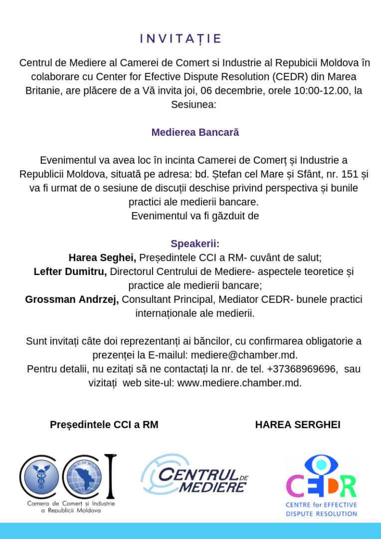 Invitatie la Sesiunea MEDIEREA BANCARĂ 2